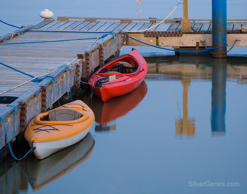 Kayaks in Evening Light - Hecla Island MB