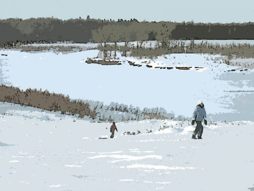 Sledding by the Red River Floodway - Winnipeg MB